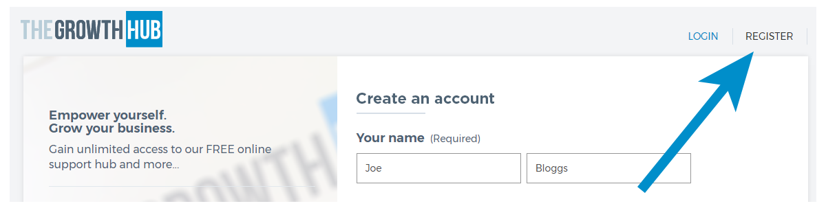 Create an account with The Growth Hub