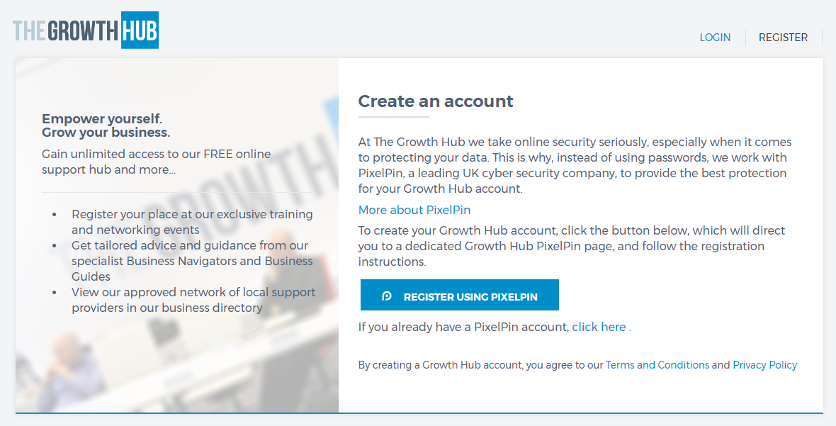PixelPin - create an account