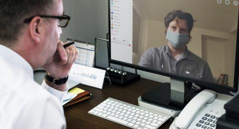 A video call takes place.