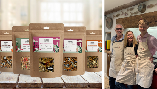 Gloucestershire based Forthay Granola product range of five flavours photographed on table