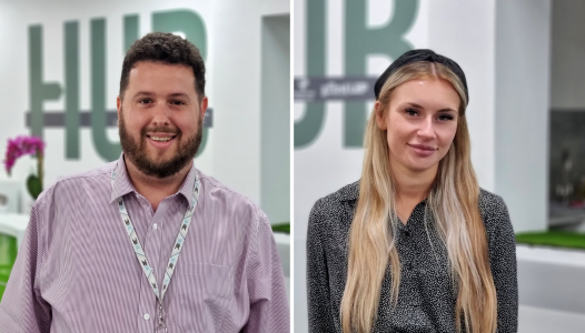 Tom and Freya, new Growth Hub team members, standing in the Forest of Dean Growth Hub